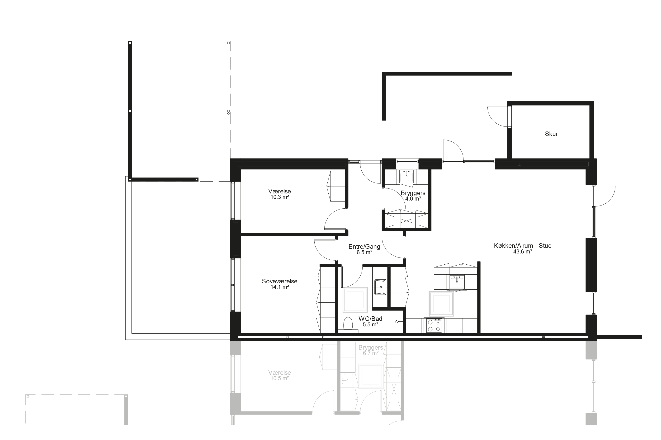 Planløsning type 100 m2