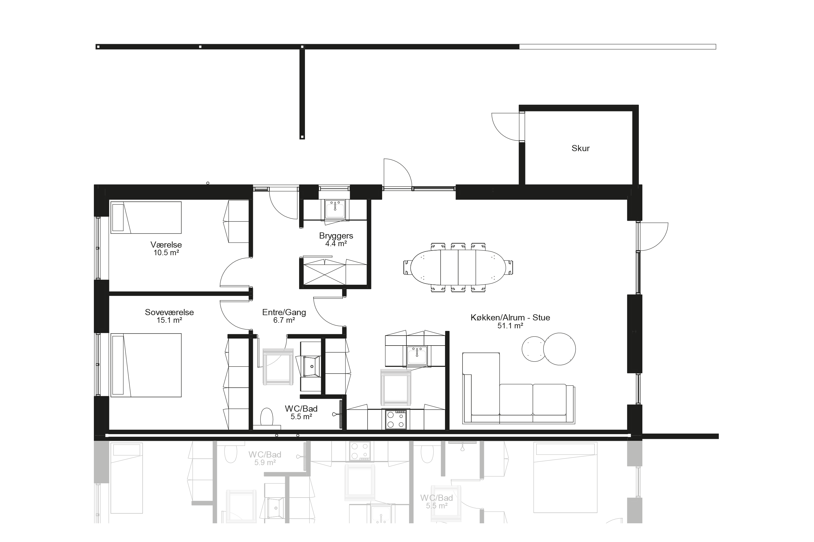 Planløsning type 110 m2