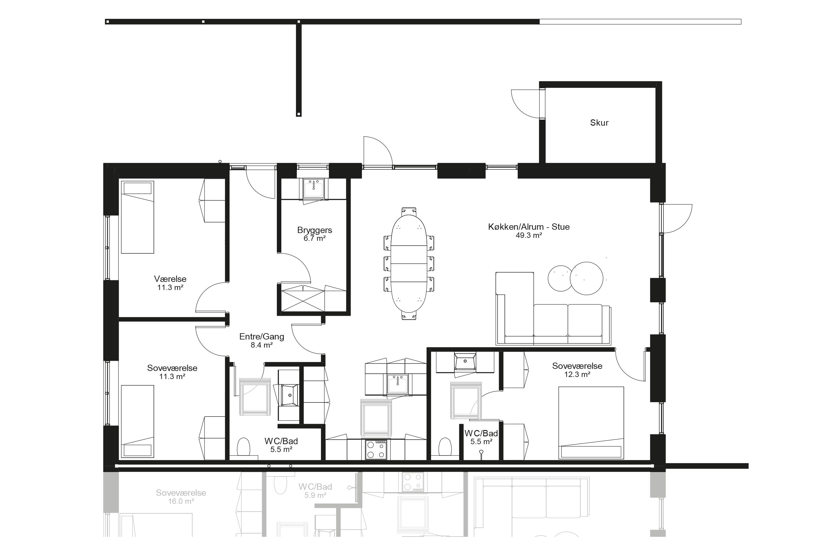 Planløsning type 130 m2