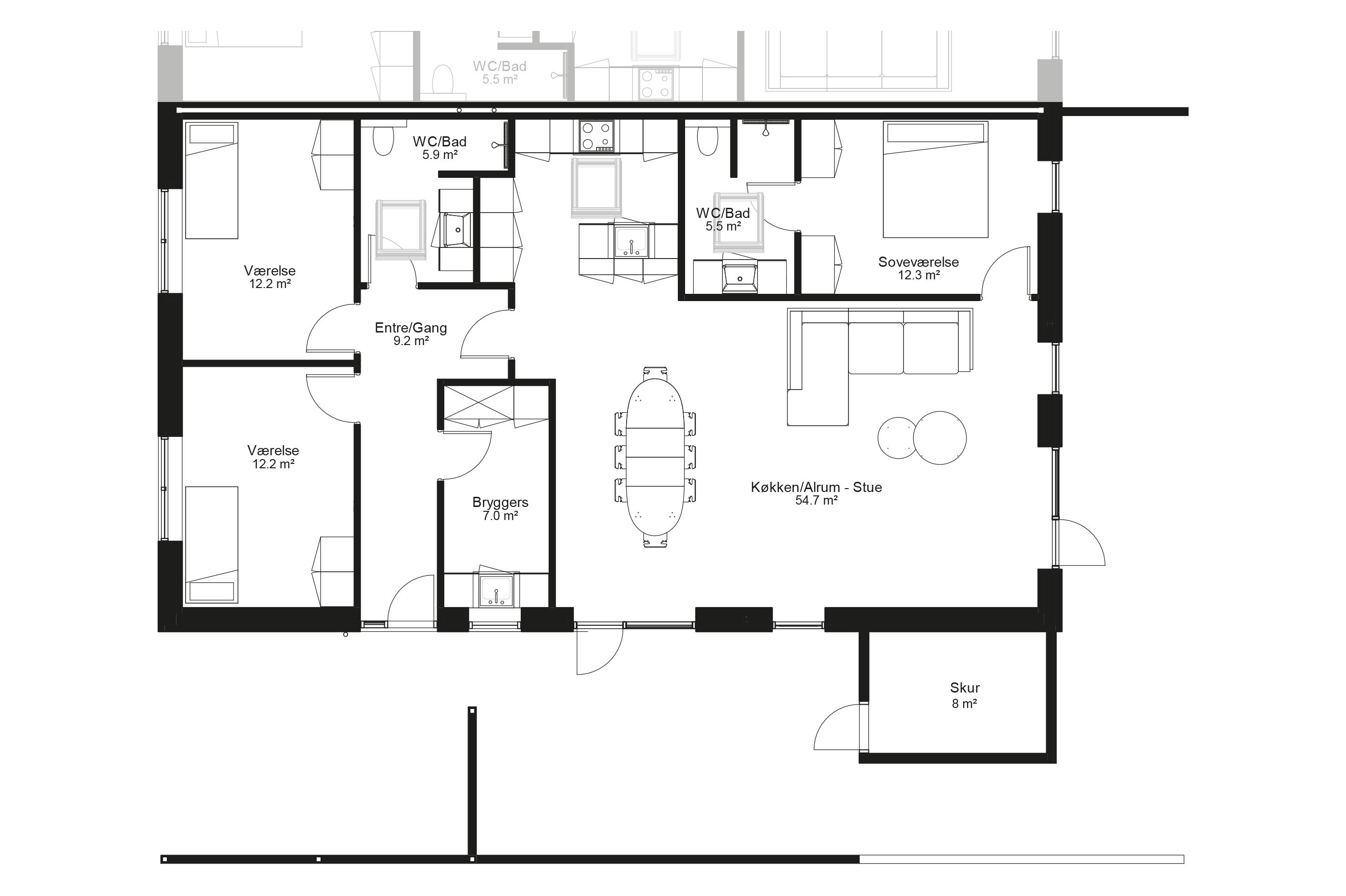 Planløsning type 140 m2